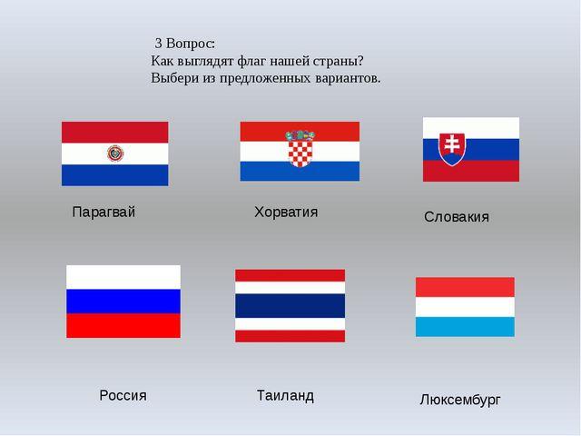 3 Вопрос: Как выглядят флаг нашей страны? Выбери из предложенных вариантов....