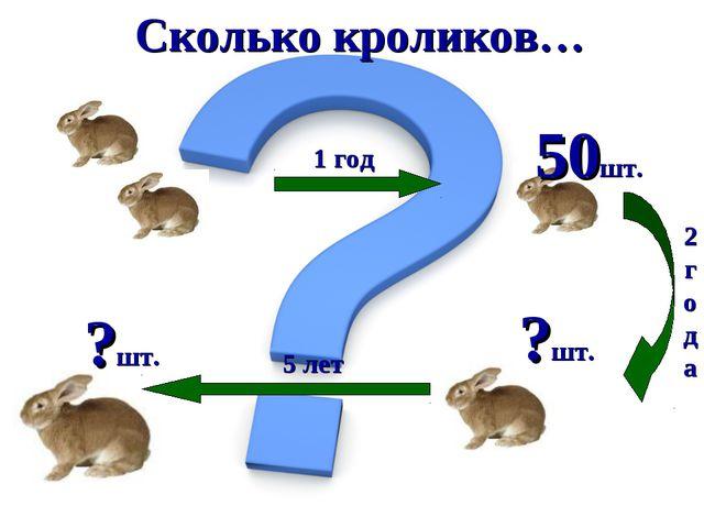 Сколько кроликов… 50шт. 1 год 2года ?шт. 5 лет ?шт.