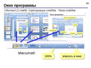 Окно программы * Обычный (1 слайд) Сортировщик слайдов Показ слайдов Масштаб: