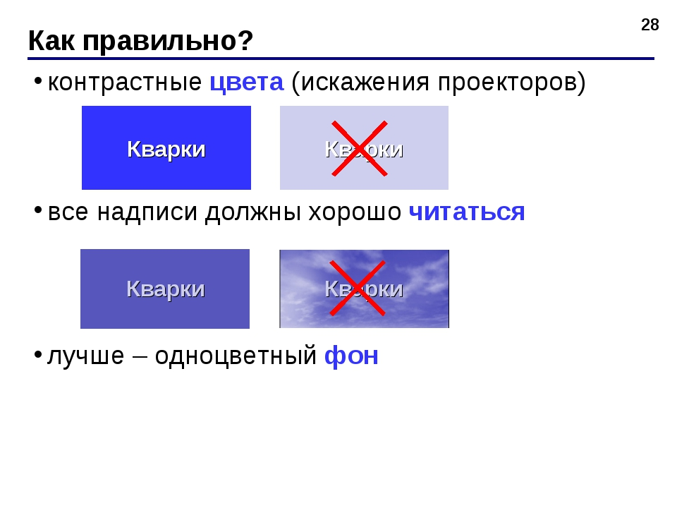 контрастные цвета (искажения проекторов) все надписи должны хорошо читаться л...