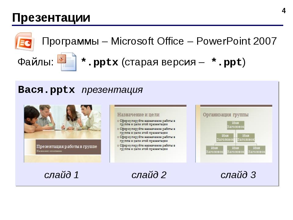 Презентации * Программы – Microsoft Office – PowerPoint 2007 Файлы: *.pptx (с...