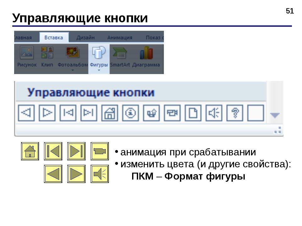Управляющие кнопки * анимация при срабатывании изменить цвета (и другие свойс...