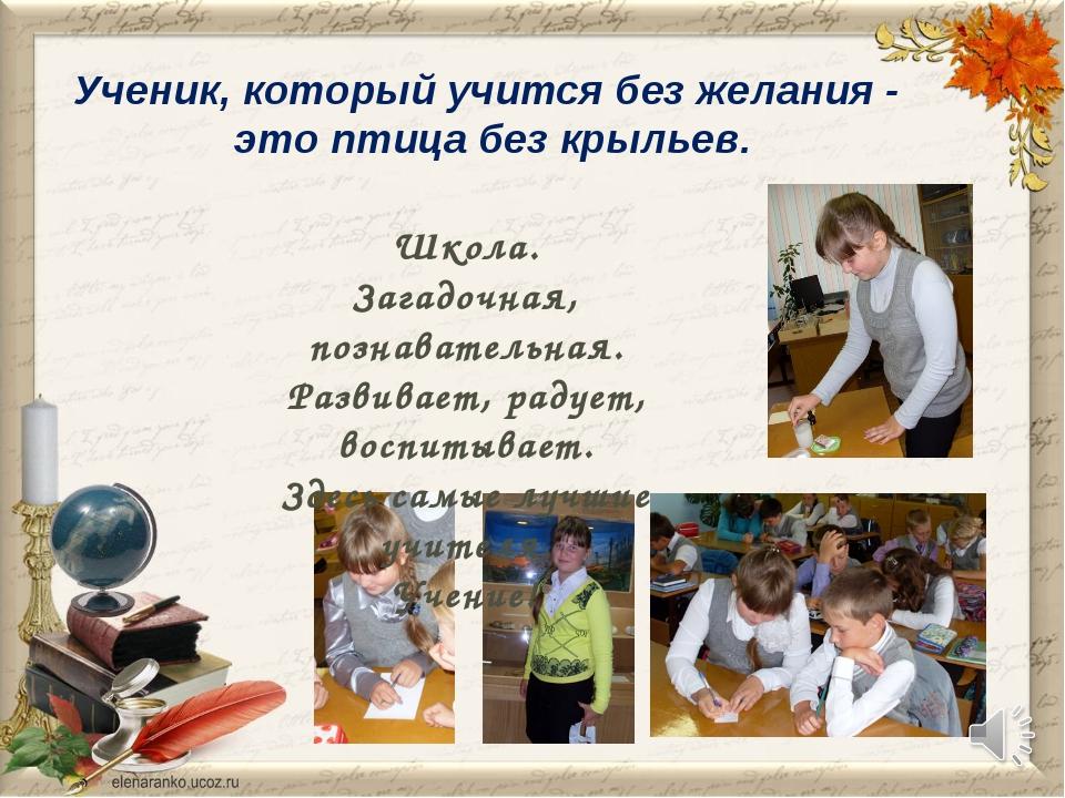 Ученик, который учится без желания - это птица без крыльев. Школа. Загадочная...