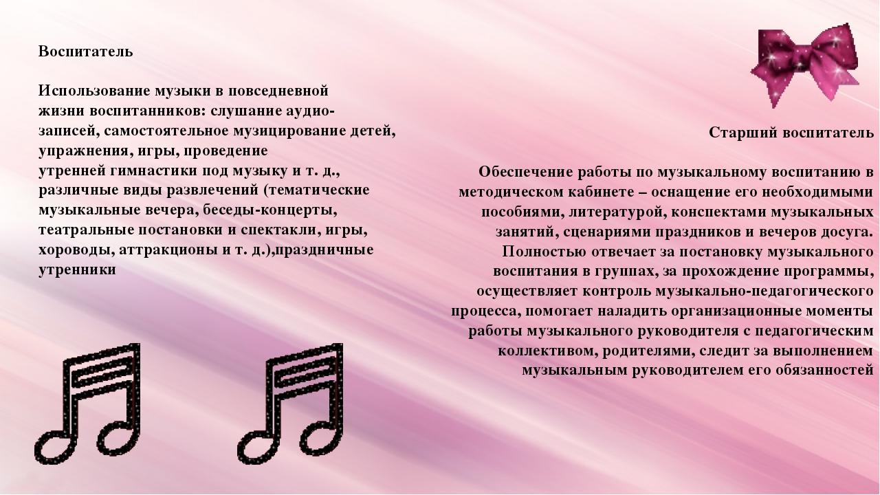 Воспитатель Использование музыки в повседневной жизни воспитанников: слушание...