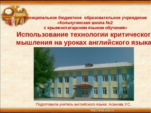 Муниципальное бюджетное образовательное учреждение «Кольчугинская школа №2 с