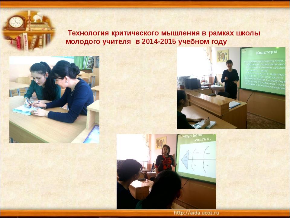 Технология критического мышления в рамках школы молодого учителя в 2014-2015...
