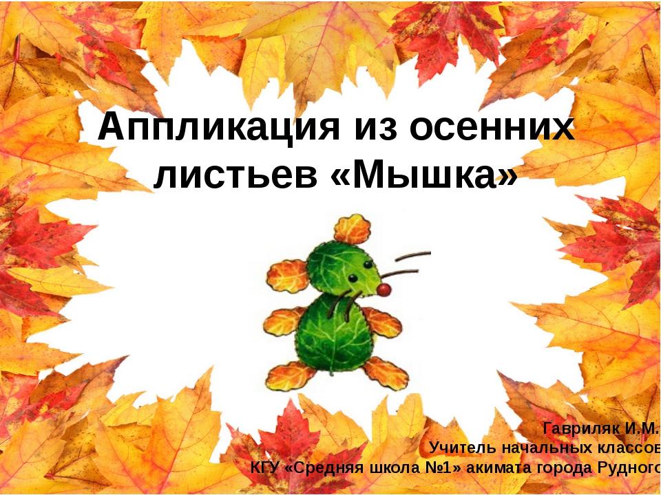 Аппликация из осенних листьев «Мышка» Гавриляк И.М., Учитель начальных класс...