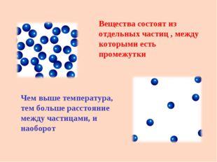 Вещества состоят из отдельных частиц , между которыми есть промежутки Чем вы