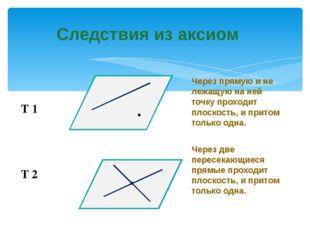 Следствия из аксиом Через прямую и не лежащую на ней точку проходит плоскость
