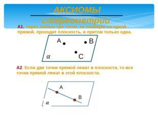 АКСИОМЫ стереометрии А1. Через любые три точки, не лежащие на одной прямой,