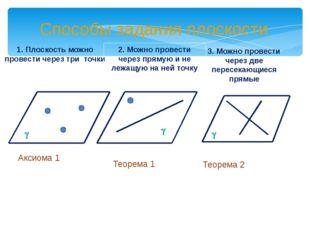 Способы задания плоскости 1. Плоскость можно провести через три точки 2. Можн