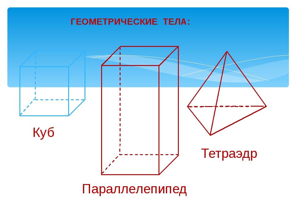 ГЕОМЕТРИЧЕСКИЕ ТЕЛА: Куб Параллелепипед Тетраэдр