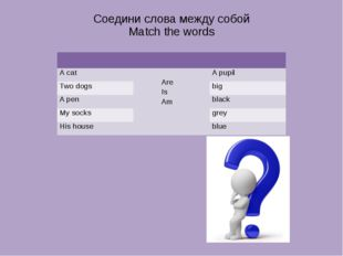 Соедини слова между собой Match the words A cat Are Is Am A pupil Two dogs bi