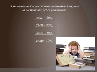Социологические исследования показывают, что на воспитание ребенка влияют: с