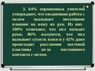 3. 64% опрошенных учителей утверждают, что ежедневная работа с мелом оказыва
