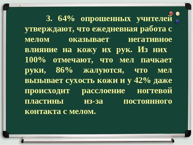 3. 64% опрошенных учителей утверждают, что ежедневная работа с мелом оказыва...