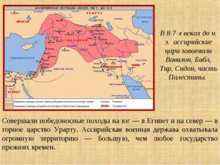 Совершали победоносные походы на юг — в Египет и на север — в горное царство