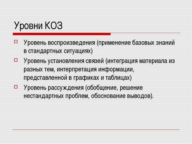 Уровни КОЗ Уровень воспроизведения (применение базовых знаний в стандартных...