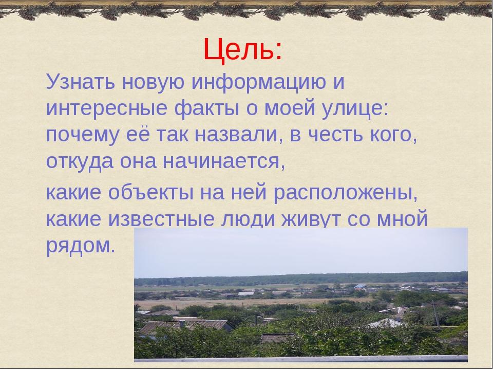 Цель: Узнать новую информацию и интересные факты о моей улице: почему её так...