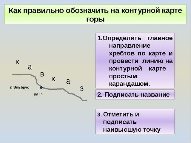 Как правильно обозначить на контурной карте горы Определить главное направлен...