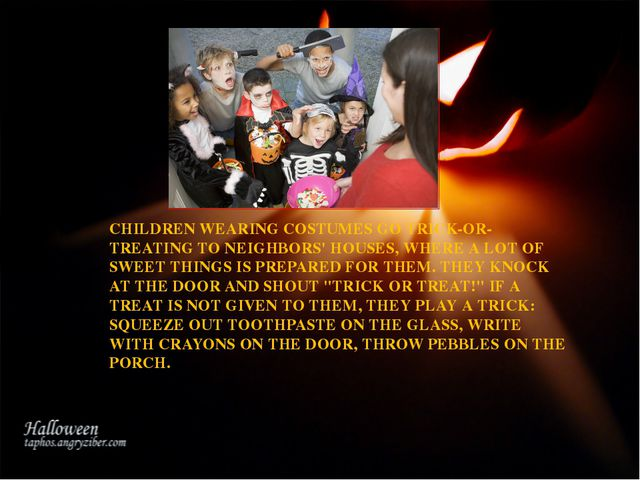 CHILDREN WEARING COSTUMES GO TRICK-OR-TREATING TO NEIGHBORS' HOUSES, WHERE A...