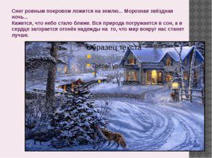 Снег ровным покровом ложится на землю... Морозная звёздная ночь... Кажется, ч