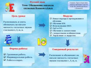 Русский язык Тема: Обозначение мягкости согласных буквами е,ё,ю,я. Галушко Ла