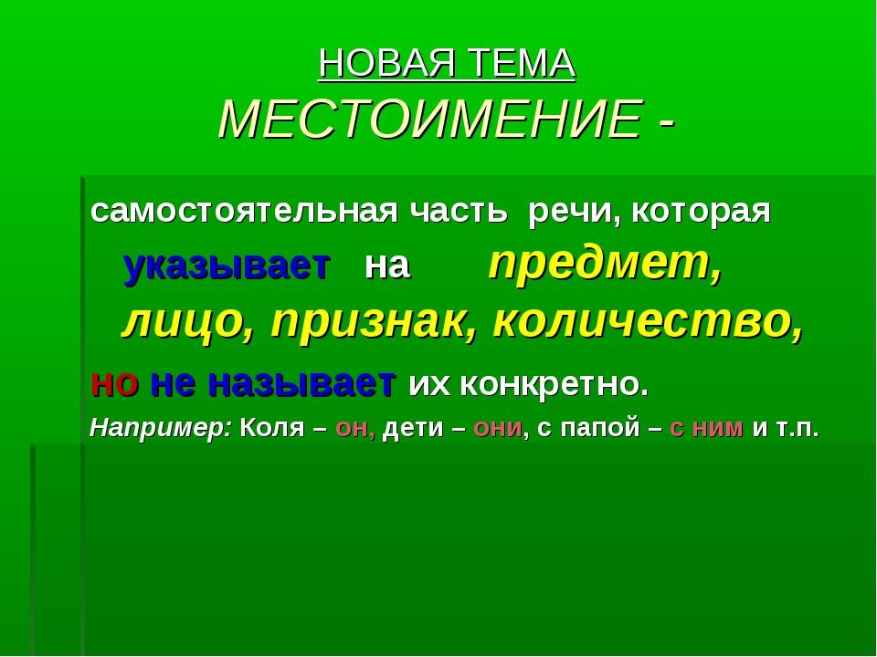 НОВАЯ ТЕМА МЕСТОИМЕНИЕ - самостоятельная часть речи, которая указывает на пре...