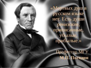 «Мертвых душ в русском языке нет. Есть души ревизские, приписанные, убылые, п