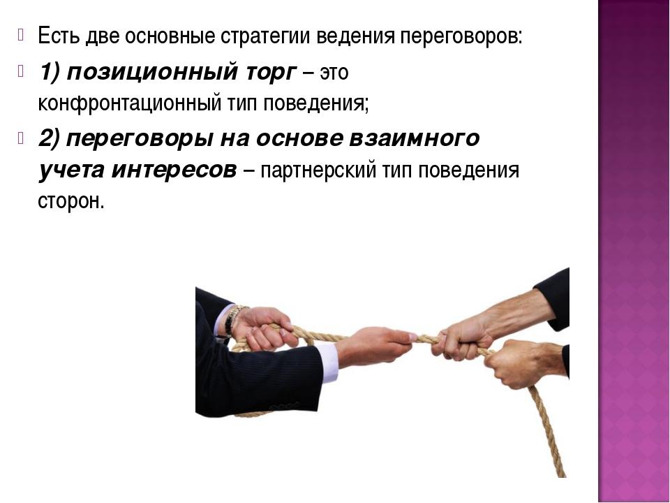 Есть две основные стратегии ведения переговоров: 1) позиционный торг – это ко...
