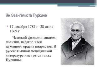 Ян Эвангелиста Пуркине 17 декабря 1787 г- 28 июля 1869 г Чешский физиолог, ан
