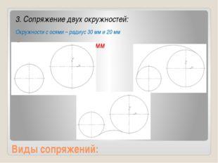 Виды сопряжений: 3. Сопряжение двух окружностей: Окружности с осями – радиус