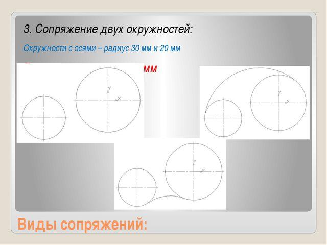Виды сопряжений: 3. Сопряжение двух окружностей: Окружности с осями – радиус...