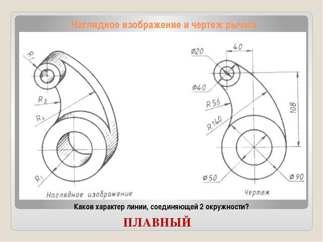 Наглядное изображение и чертеж рычага Каков характер линии, соединяющей 2 окр...