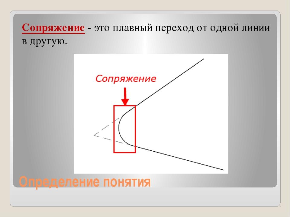 Определение понятия Сопряжение - это плавный переход от одной линии в другую.