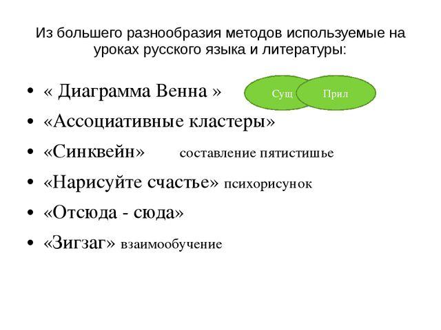 Из большего разнообразия методов используемые на уроках русского языка и лите...