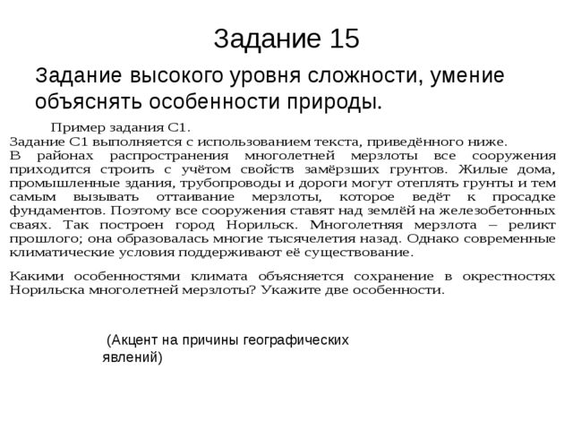 Задание 15 Задание высокого уровня сложности, умение объяснять особенности пр...