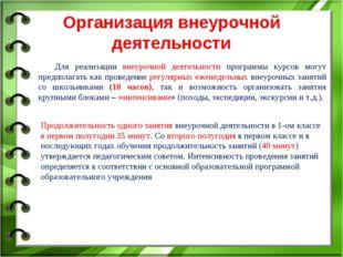 Организация внеурочной деятельности Для реализации внеурочной деятельности пр