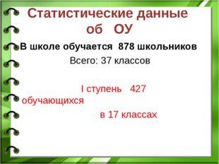 Статистические данные об ОУ В школе обучается 878 школьников Всего: 37 классо