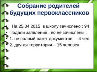 Собрание родителей будущих первоклассников На 25.04.2015 в школу зачислено :