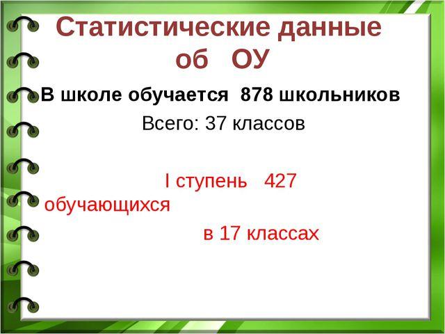 Статистические данные об ОУ В школе обучается 878 школьников Всего: 37 классо...