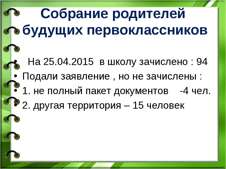 Собрание родителей будущих первоклассников На 25.04.2015 в школу зачислено :...