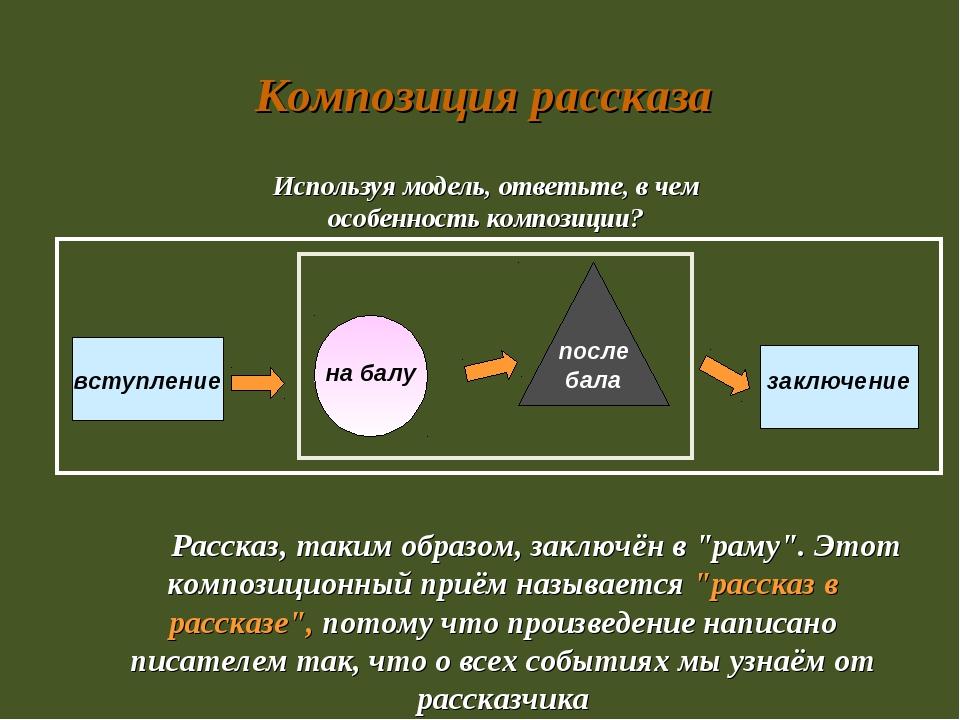 Композиция рассказа Используя модель, ответьте, в чем особенность композиции...