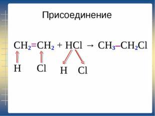 Присоединение CH2=CH2 + HCl → H Cl H Cl CH3–CH2Cl