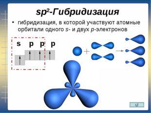 sp2-Гибридизация гибридизация, в которой участвуют атомные орбитали одногоs-