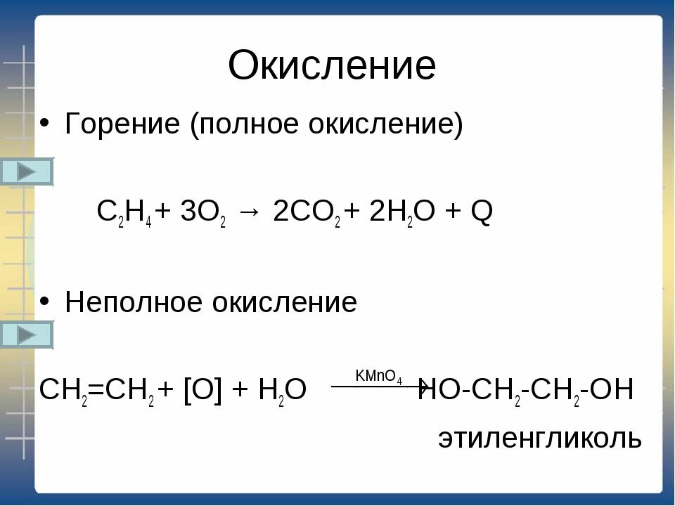 Окисление Горение (полное окисление) C2H4 + 3O2 → 2CO2 + 2H2O + Q Неполное ок...