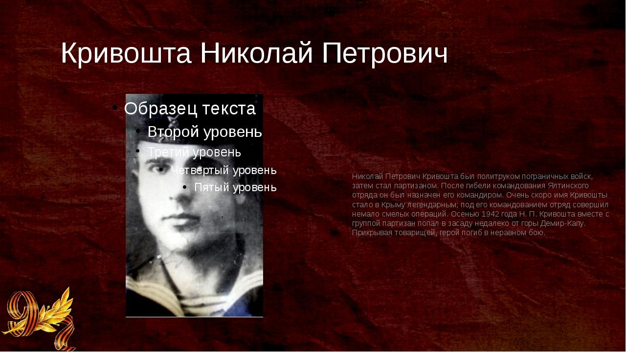 Кривошта Николай Петрович Николай Петрович Кривошта был политруком пограничны...