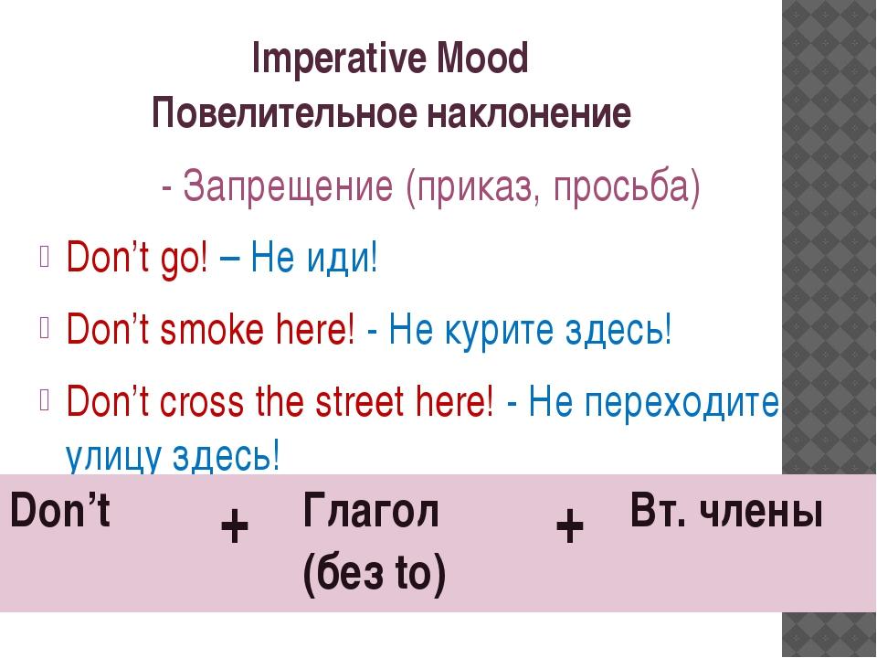 Imperative Mood Повелительное наклонение - Запрещение (приказ, просьба) Don't...