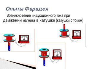 Возникновение индукционного тока при движении магнита в катушке (катушки с то