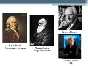 Карл Линней Систематика, ботаника Чарльз Дарвин Теория эволюции Фрэнсис Крик